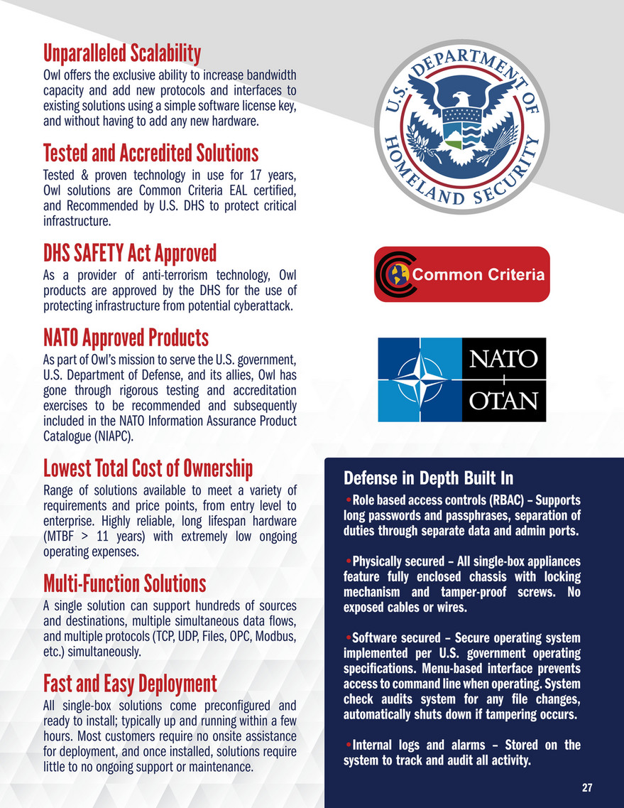 Owl Cyber Defense - Brochure - Network Security Solutions - Page 28-29