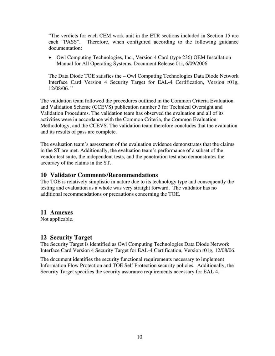 Owl Cyber Defense - Certification - Common Criteria