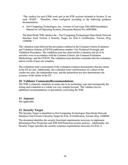 Owl Cyber Defense - Certification - Common Criteria Evaluation and ...