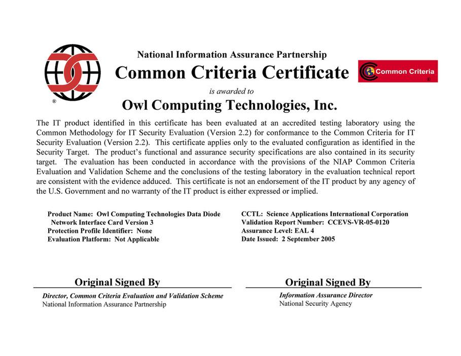 Owl Cyber Defense Certification Owl 155 V3 Eal 4 Certificate