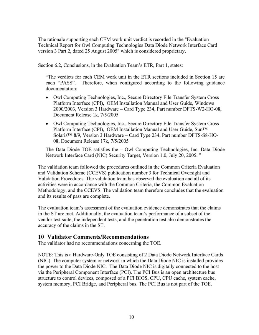 Owl Cyber Defense Certification Common Criteria Evaluation And