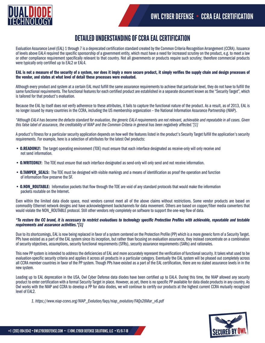 Owl Cyber Defense - Certification - Understanding CCRA EAL