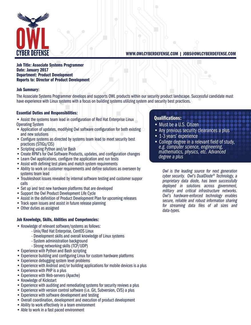 COM | JOBS@OWLCYBERDEFENSE.COM Job Title: Associate Systems