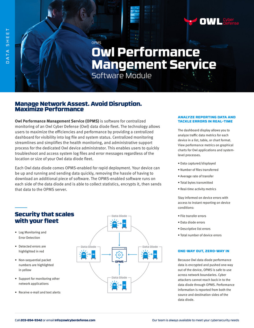 Owl Cyber Defense - Data Sheet - Network Security Software