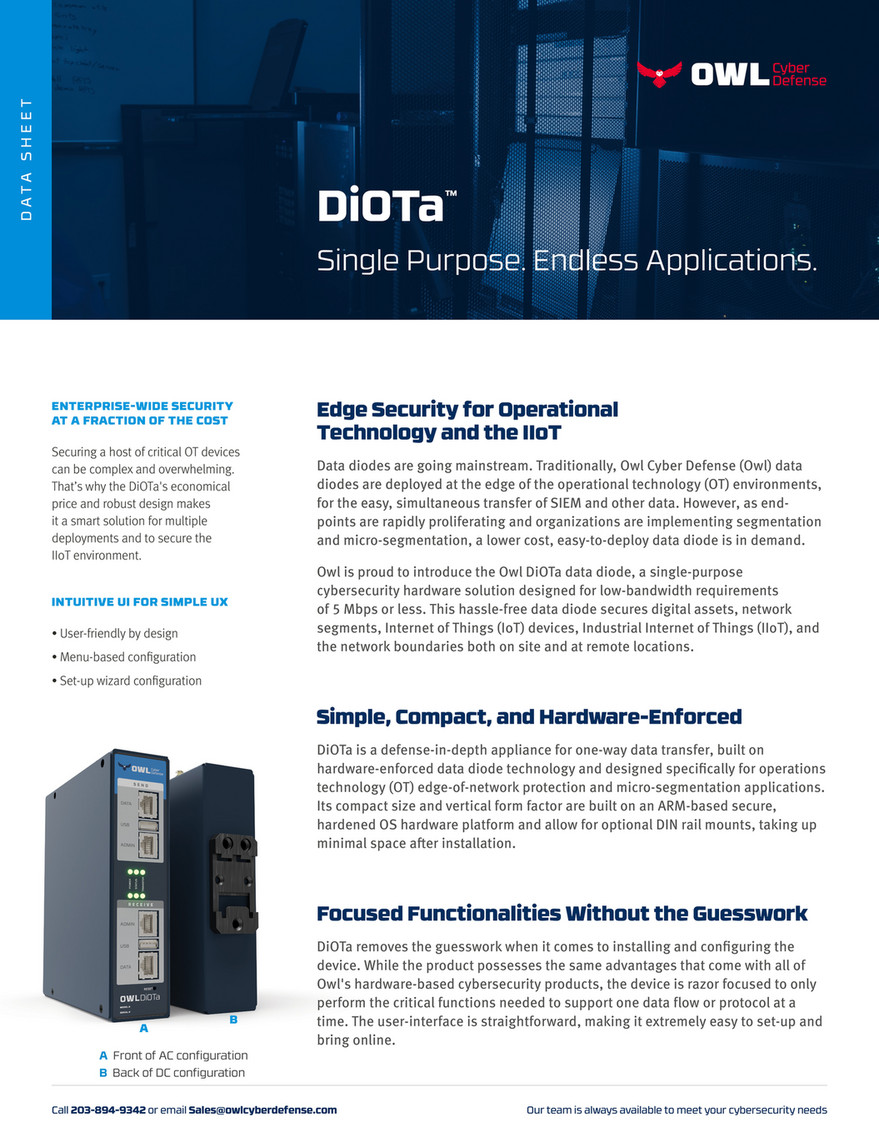 Owl Cyber Defense - Data Sheet - Network Security Solutions